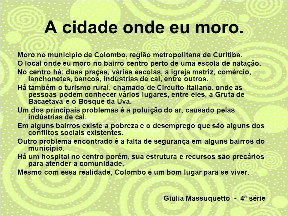 Moro no município de Colombo, região metropolitana de Curitiba. O local onde eu moro no bairro centro perto de uma escola de natação. No centro há: du