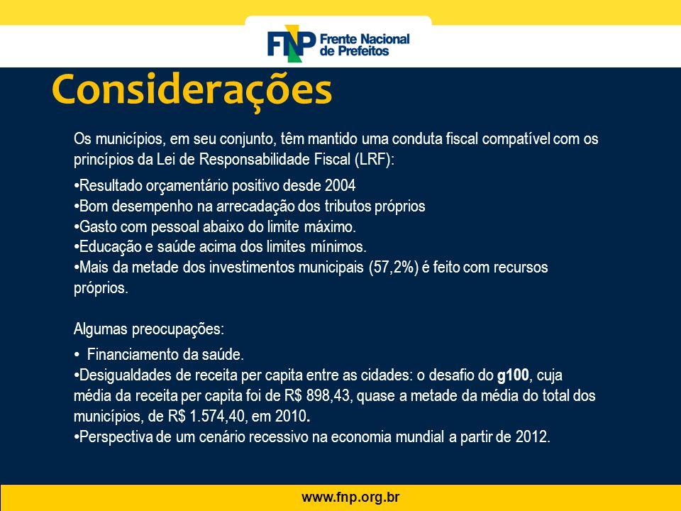 www.fnp.org.br Os municípios, em seu conjunto, têm mantido uma conduta fiscal compatível com os princípios da Lei de Responsabilidade Fiscal (LRF): •