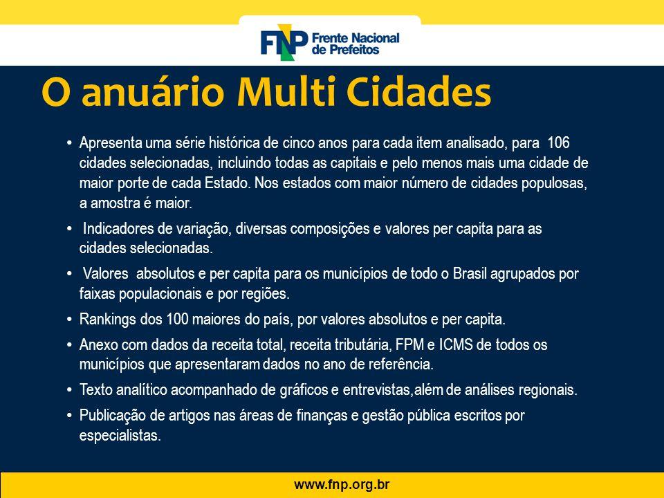 www.fnp.org.br O anuário Multi Cidades • Apresenta uma série histórica de cinco anos para cada item analisado, para 106 cidades selecionadas, incluind