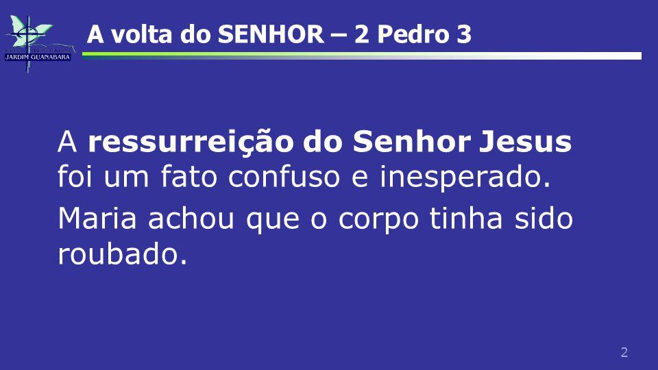 43 A volta do SENHOR – 2 Pedro 3 Nem Paulo, nem Pedro, são muito claros em detalhes.