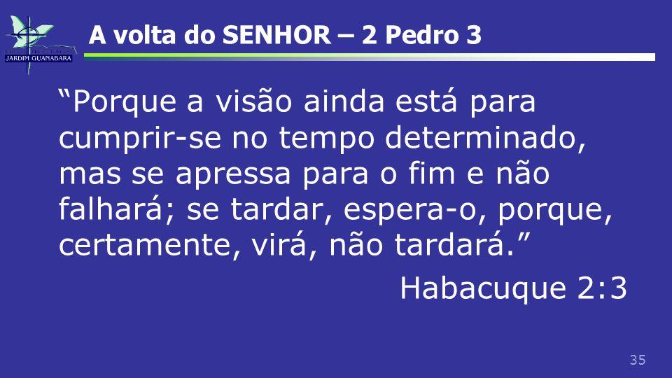 """35 A volta do SENHOR – 2 Pedro 3 """"Porque a visão ainda está para cumprir-se no tempo determinado, mas se apressa para o fim e não falhará; se tardar,"""