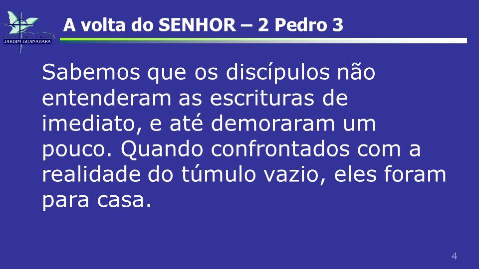 45 A volta do SENHOR – 2 Pedro 3 Nos versículos de 11 a 14, Pedro nos fala das implicações éticas da segunda vinda.