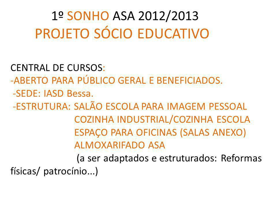 1º SONHO ASA 2012/2013 PROJETO SÓCIO EDUCATIVO CENTRAL DE CURSOS: -ABERTO PARA PÚBLICO GERAL E BENEFICIADOS.