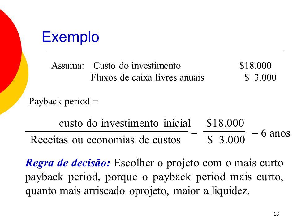 13 Assuma: Custo do investimento $18.000 Fluxos de caixa livres anuais $ 3.000 Payback period = custo do investimento inicial $18.000 Receitas ou economias de custos $ 3.000 == 6 anos Regra de decisão: Escolher o projeto com o mais curto payback period, porque o payback period mais curto, quanto mais arriscado oprojeto, maior a liquidez.
