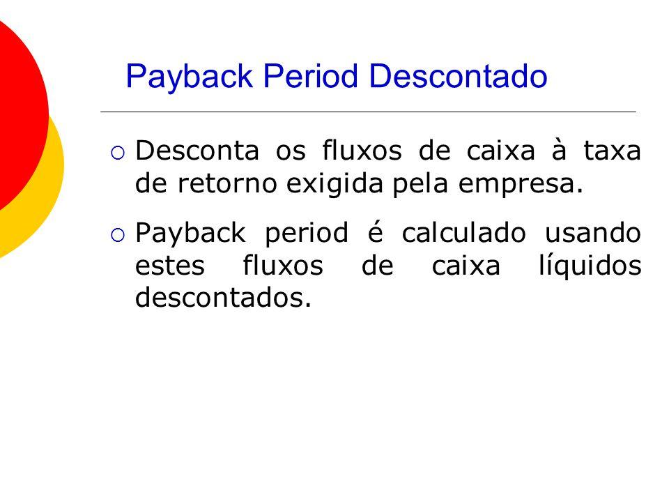 Payback Period Descontado  Desconta os fluxos de caixa à taxa de retorno exigida pela empresa.