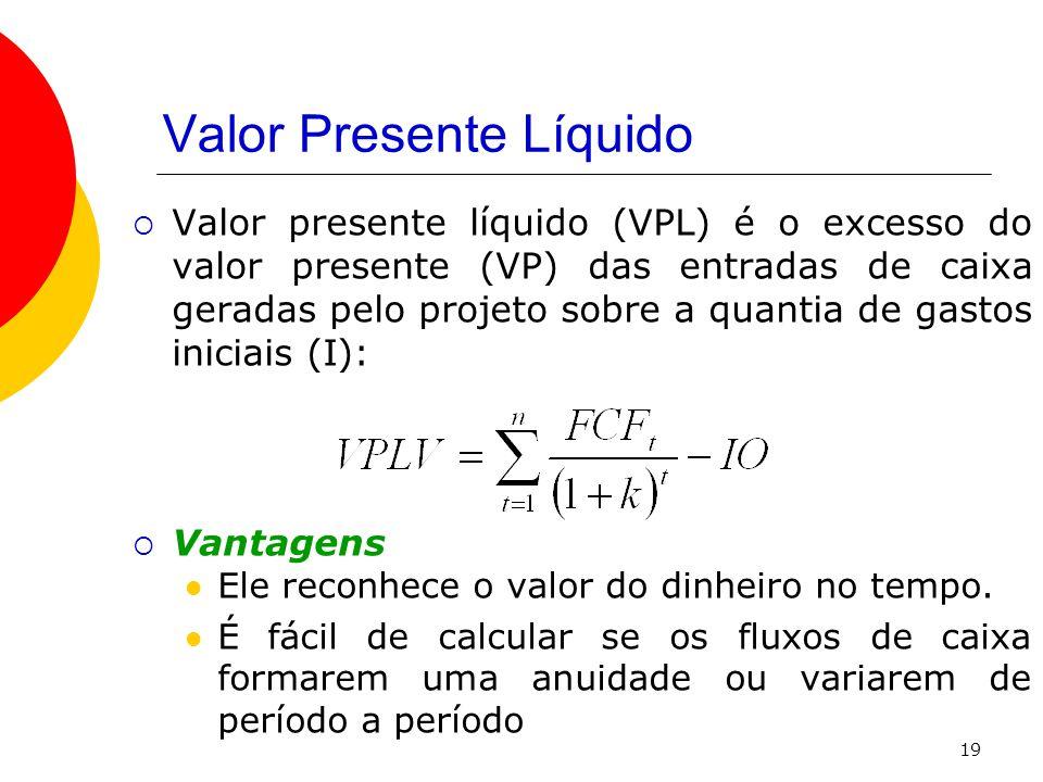 19 Valor Presente Líquido  Valor presente líquido (VPL) é o excesso do valor presente (VP) das entradas de caixa geradas pelo projeto sobre a quantia de gastos iniciais (I):  Vantagens  Ele reconhece o valor do dinheiro no tempo.