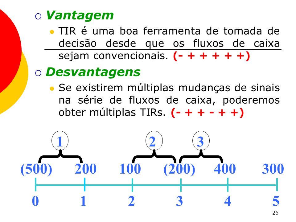 26  Vantagem  TIR é uma boa ferramenta de tomada de decisão desde que os fluxos de caixa sejam convencionais.