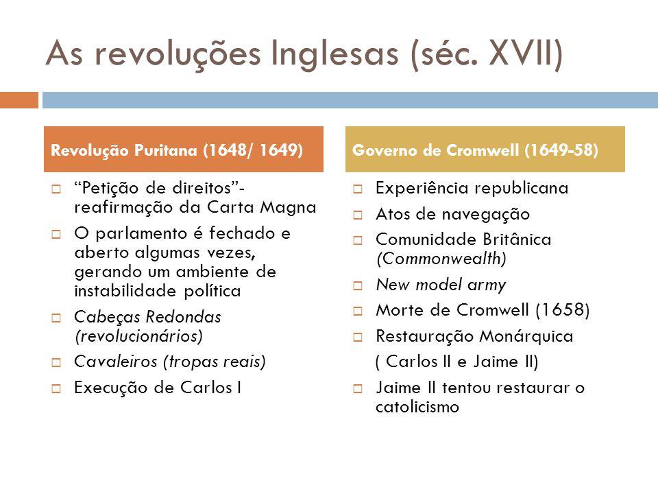 """As revoluções Inglesas (séc. XVII)  """"Petição de direitos""""- reafirmação da Carta Magna  O parlamento é fechado e aberto algumas vezes, gerando um amb"""