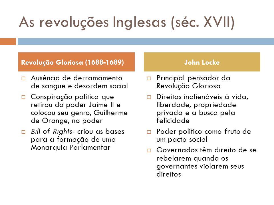 As revoluções Inglesas (séc. XVII)  Ausência de derramamento de sangue e desordem social  Conspiração política que retirou do poder Jaime II e coloc