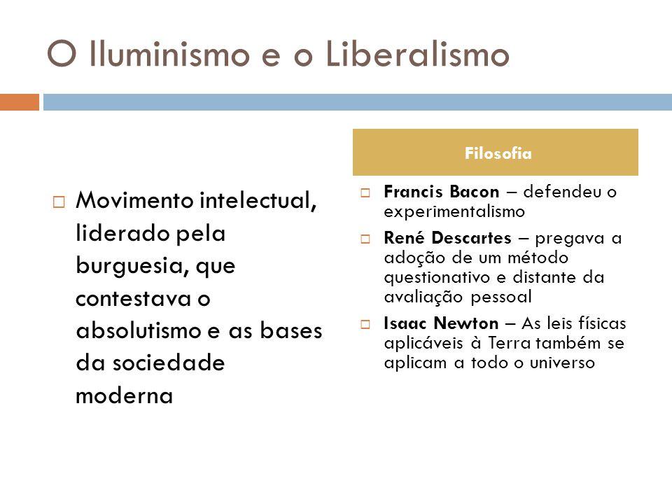 O Iluminismo e o Liberalismo  Movimento intelectual, liderado pela burguesia, que contestava o absolutismo e as bases da sociedade moderna  Francis