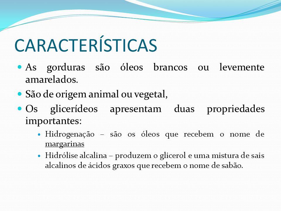 CARACTERÍSTICAS  As gorduras são óleos brancos ou levemente amarelados.  São de origem animal ou vegetal,  Os glicerídeos apresentam duas proprieda