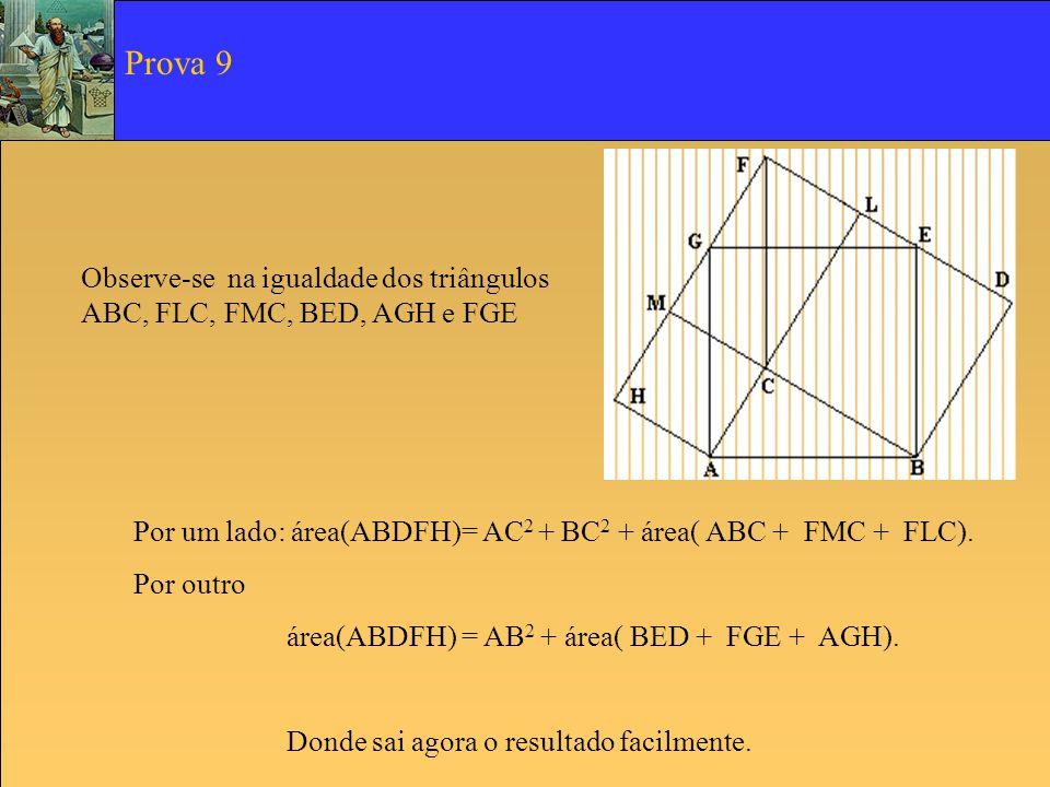 Observe-se na igualdade dos triângulos ABC, FLC, FMC, BED, AGH e FGE Por um lado: área(ABDFH)= AC 2 + BC 2 + área( ABC + FMC + FLC). Por outro área(AB
