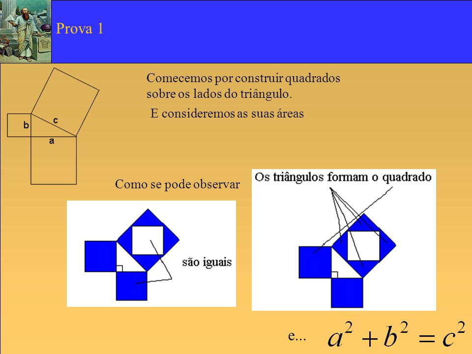 Comecemos por construir quadrados sobre os lados do triângulo. E consideremos as suas áreas Prova 1 Como se pode observar e...