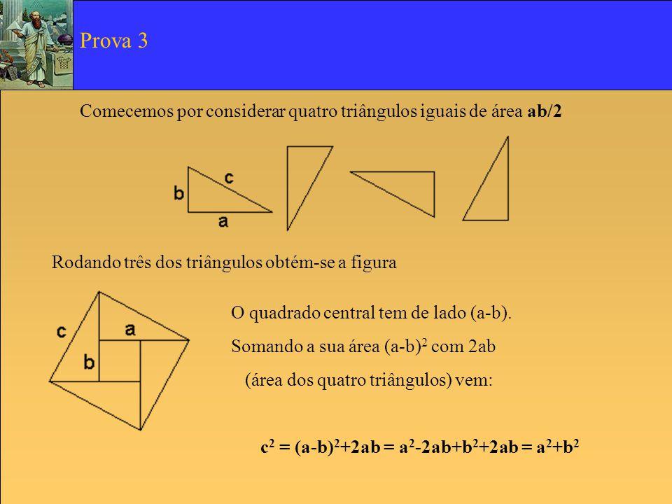 Comecemos por considerar quatro triângulos iguais de área ab/2 Rodando três dos triângulos obtém-se a figura O quadrado central tem de lado (a-b). Som