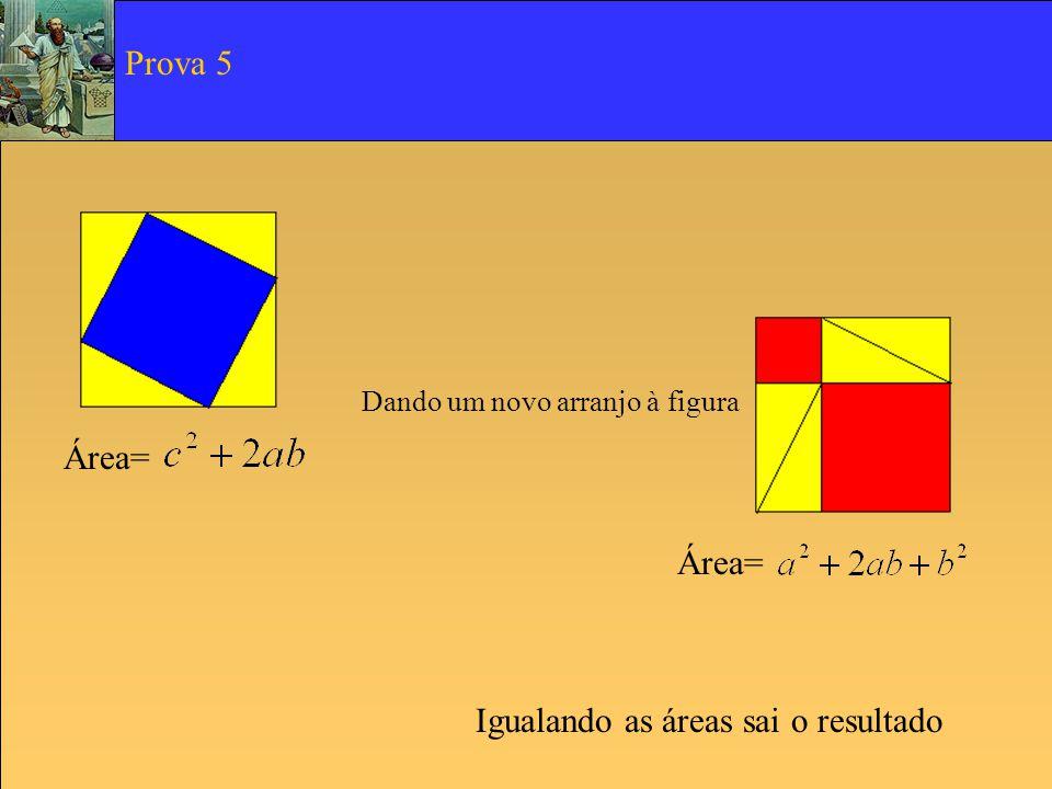 Área= Dando um novo arranjo à figura Igualando as áreas sai o resultado Prova 5