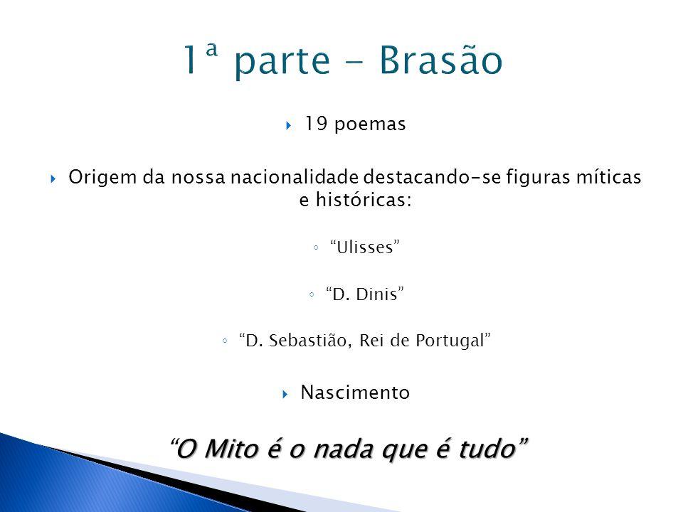 """ 19 poemas  Origem da nossa nacionalidade destacando-se figuras míticas e históricas: ◦ """"Ulisses"""" ◦ """"D. Dinis"""" ◦ """"D. Sebastião, Rei de Portugal""""  N"""