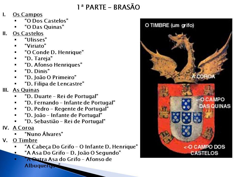 """1ª PARTE - BRASÃO I.Os Campos  """"O Dos Castelos""""  """"O Das Quinas"""" II.Os Castelos  """"Ulisses""""  """"Viriato""""  """"O Conde D. Henrique""""  """"D. Tareja""""  """"D. A"""
