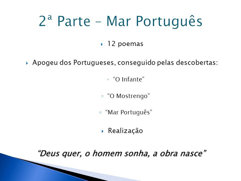 """ 12 poemas  Apogeu dos Portugueses, conseguido pelas descobertas: ◦ """"O Infante"""" ◦ """"O Mostrengo"""" ◦ """"Mar Português""""  Realização """"Deus quer, o homem s"""