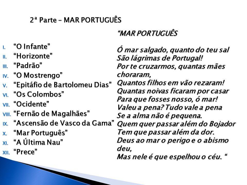 """2ª Parte – MAR PORTUGUÊS I. """"O Infante"""" II. """"Horizonte"""" III. """"Padrão"""" IV. """"O Mostrengo"""" V. """"Epitáfio de Bartolomeu Dias"""" VI. """"Os Colombos"""" VII. """"Ocide"""
