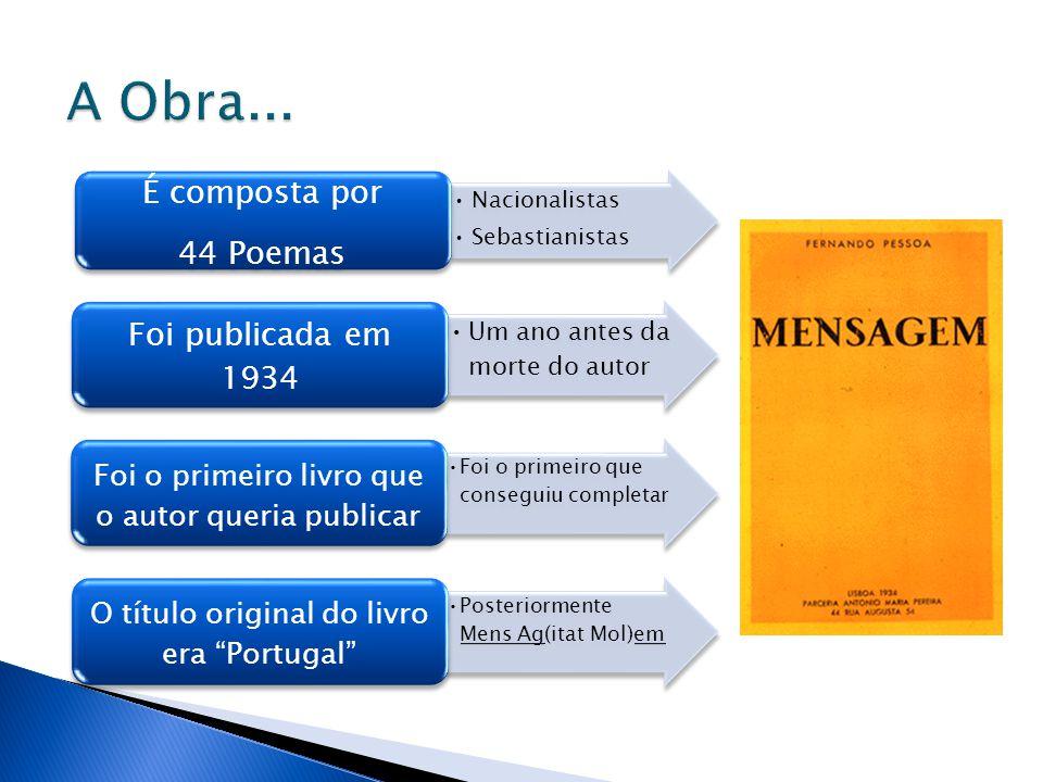 •Nacionalistas •Sebastianistas É composta por 44 Poemas •Um ano antes da morte do autor Foi publicada em 1934 •Foi o primeiro que conseguiu completar