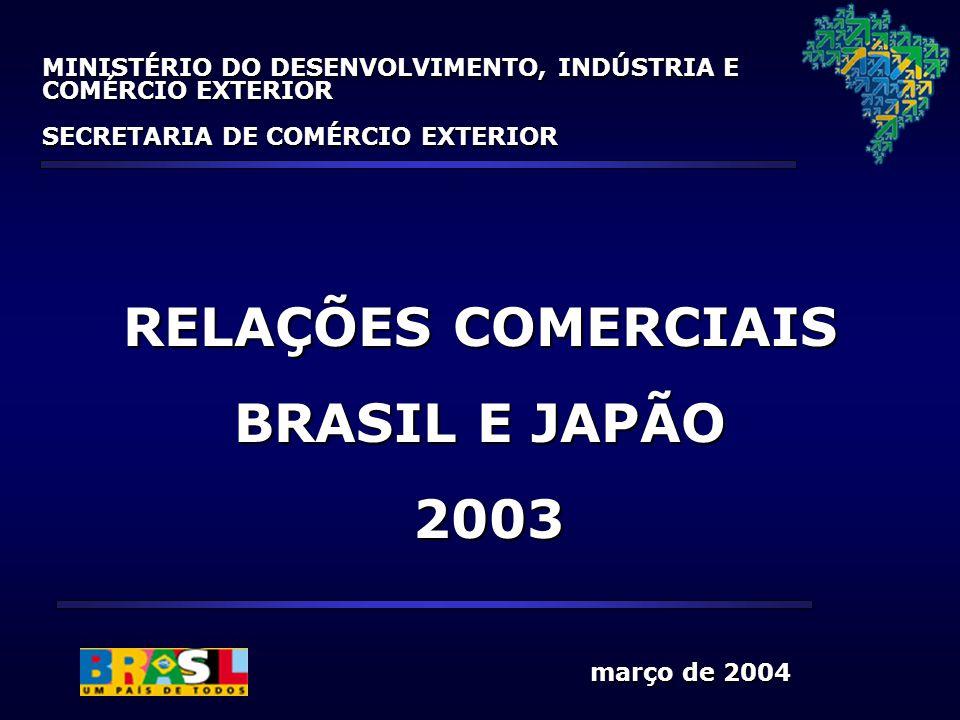 março de 2004 março de 2004 RELAÇÕES COMERCIAIS BRASIL E JAPÃO 2003 2003 MINISTÉRIO DO DESENVOLVIMENTO, INDÚSTRIA E COMÉRCIO EXTERIOR SECRETARIA DE CO
