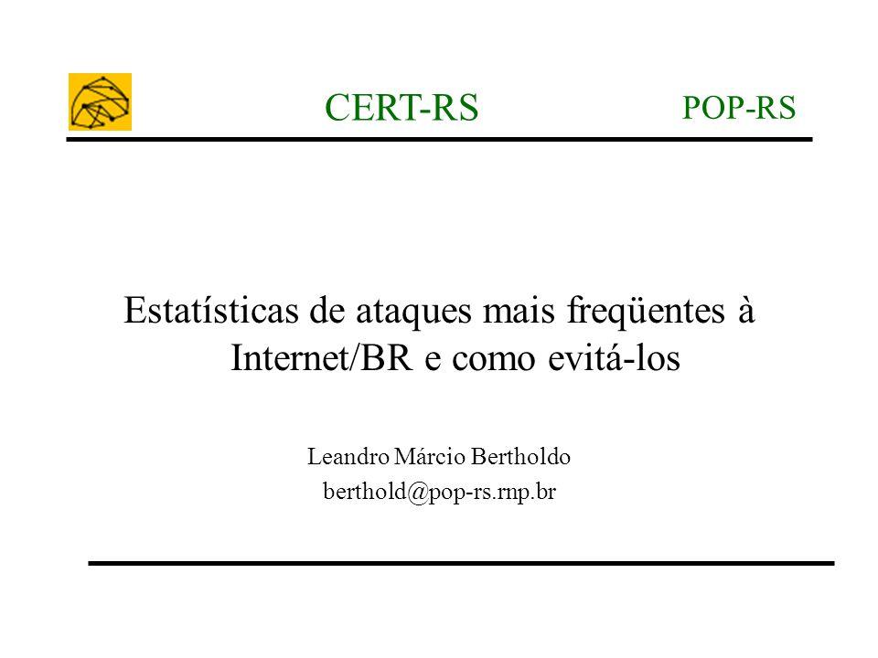 POP-RS CERT-RS Estatísticas de ataques mais freqüentes à Internet/BR e como evitá-los Leandro Márcio Bertholdo berthold@pop-rs.rnp.br