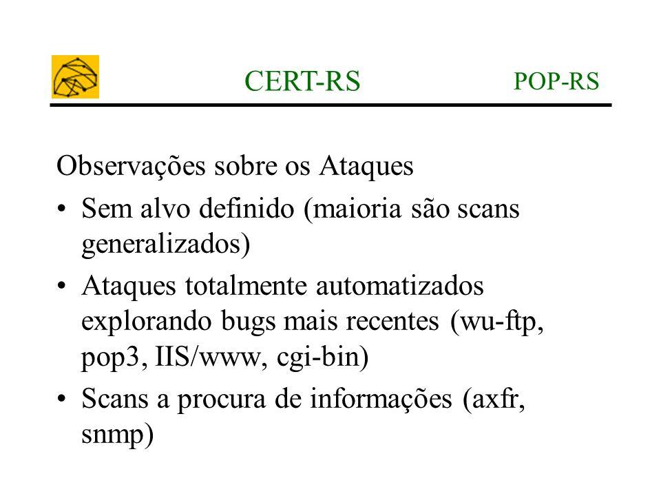 POP-RS CERT-RS Observações sobre os Ataques •Sem alvo definido (maioria são scans generalizados) •Ataques totalmente automatizados explorando bugs mai