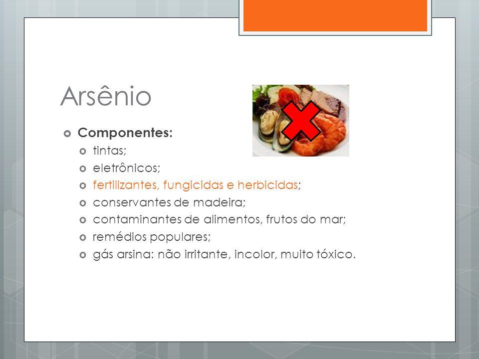 Arsênio  Componentes:  tintas;  eletrônicos;  fertilizantes, fungicidas e herbicidas;  conservantes de madeira;  contaminantes de alimentos, fru