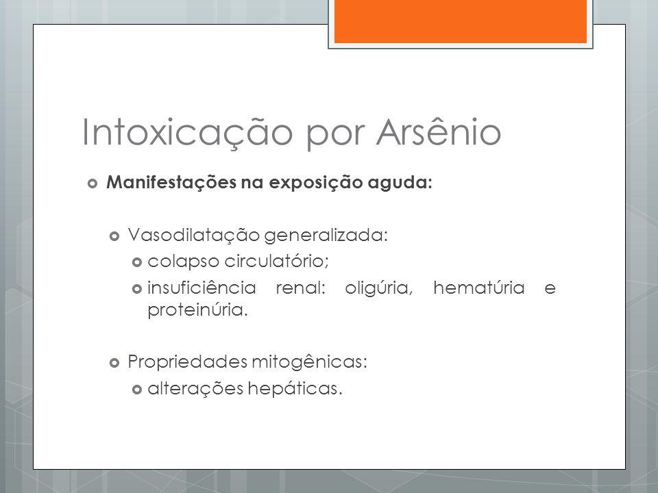 Intoxicação por Arsênio  Manifestações na exposição aguda:  Vasodilatação generalizada:  colapso circulatório;  insuficiência renal: oligúria, hem