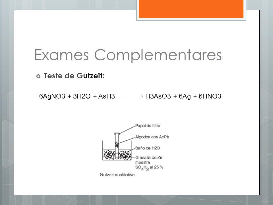 Exames Complementares  Teste de Gutzeit: 6AgNO3 + 3H2O + AsH3 H3AsO3 + 6Ag + 6HNO3