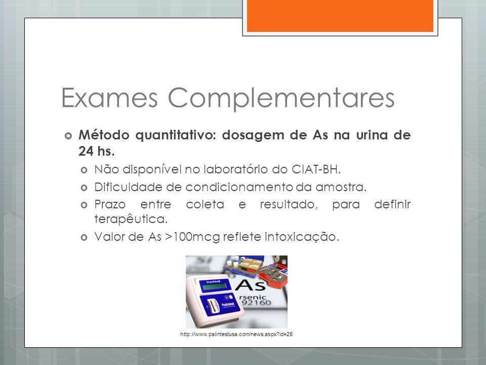  Método quantitativo: dosagem de As na urina de 24 hs.  Não disponível no laboratório do CIAT-BH.  Dificuldade de condicionamento da amostra.  Pra