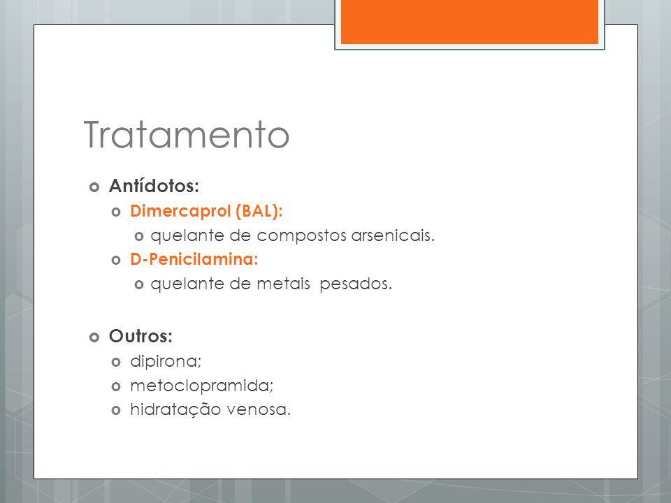 Tratamento  Antídotos:  Dimercaprol (BAL):  quelante de compostos arsenicais.  D-Penicilamina:  quelante de metais pesados.  Outros:  dipirona;