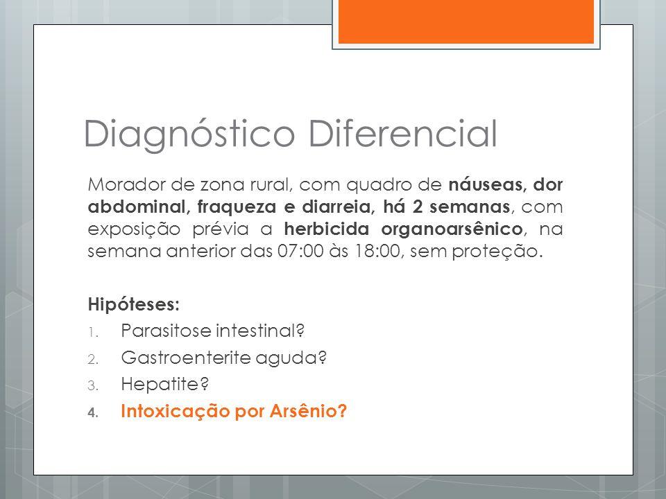 Diagnóstico Diferencial Morador de zona rural, com quadro de náuseas, dor abdominal, fraqueza e diarreia, há 2 semanas, com exposição prévia a herbici