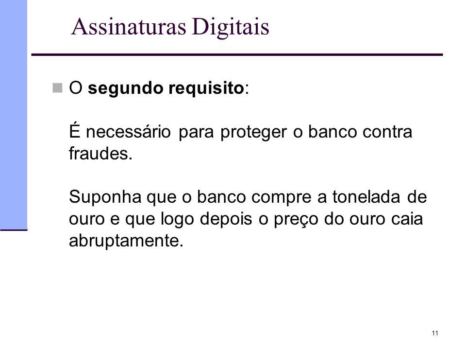 11 Assinaturas Digitais  O segundo requisito: É necessário para proteger o banco contra fraudes. Suponha que o banco compre a tonelada de ouro e que
