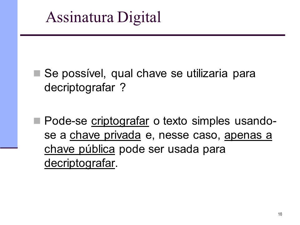 18 Assinatura Digital  Se possível, qual chave se utilizaria para decriptografar ?  Pode-se criptografar o texto simples usando- se a chave privada