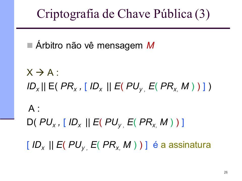 Criptografia de Chave Pública (3)  Árbitro não vê mensagem M X  A : ID x || E( PR x, [ ID x || E( PU y, E( PR x, M ) ) ] ) A : D( PU x, [ ID x || E(