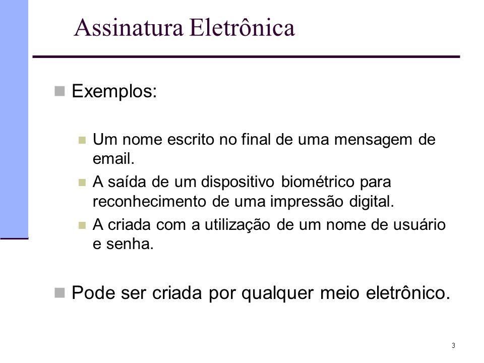Assinatura Eletrônica  Exemplos:  Um nome escrito no final de uma mensagem de email.  A saída de um dispositivo biométrico para reconhecimento de u