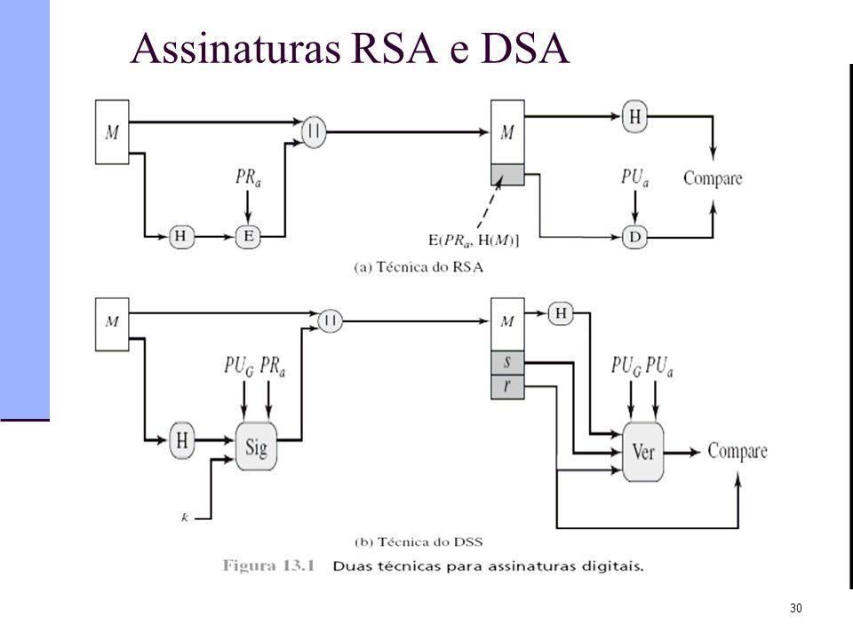 Assinaturas RSA e DSA 30