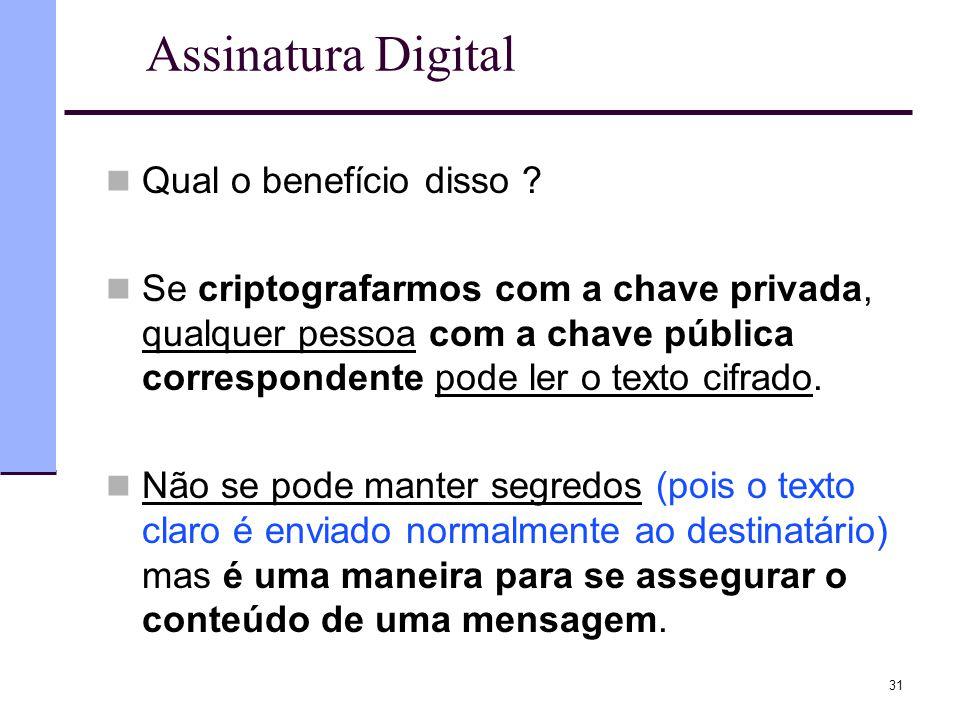 31 Assinatura Digital  Qual o benefício disso ?  Se criptografarmos com a chave privada, qualquer pessoa com a chave pública correspondente pode ler