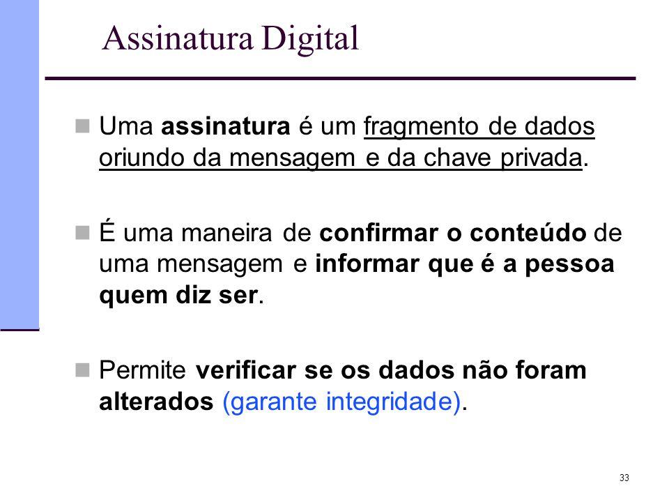 33 Assinatura Digital  Uma assinatura é um fragmento de dados oriundo da mensagem e da chave privada.  É uma maneira de confirmar o conteúdo de uma