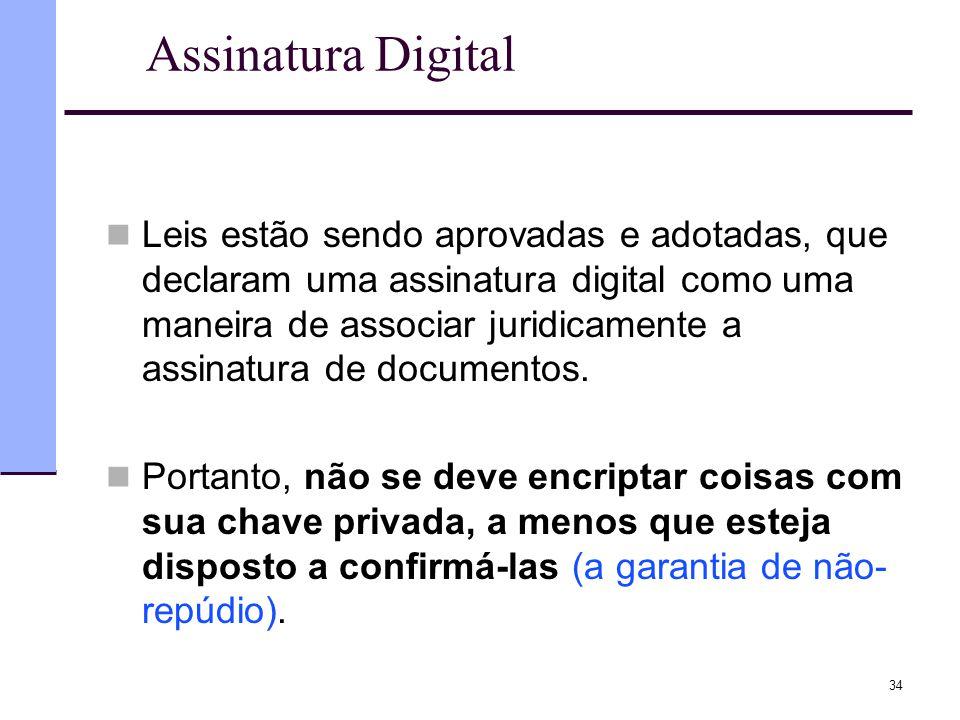 34 Assinatura Digital  Leis estão sendo aprovadas e adotadas, que declaram uma assinatura digital como uma maneira de associar juridicamente a assina