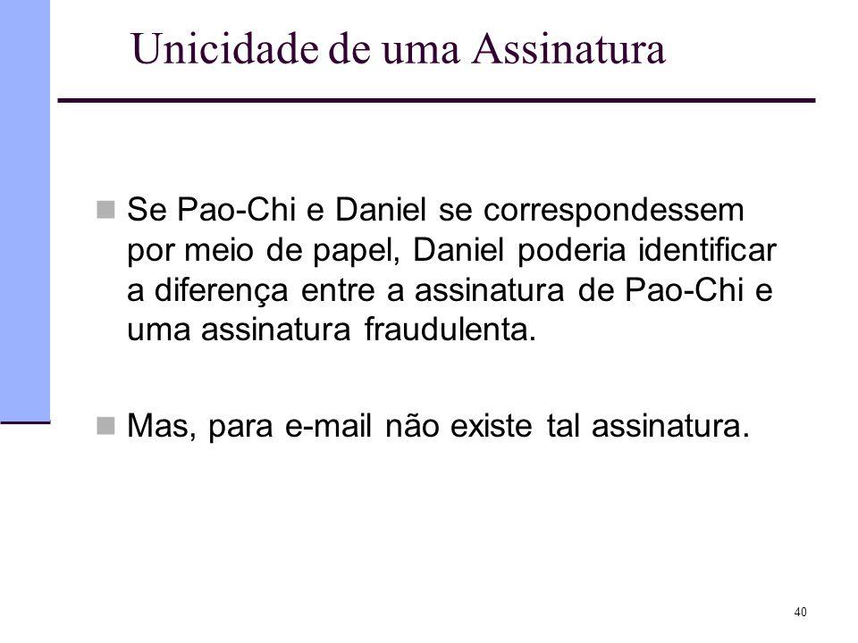 40 Unicidade de uma Assinatura  Se Pao-Chi e Daniel se correspondessem por meio de papel, Daniel poderia identificar a diferença entre a assinatura d