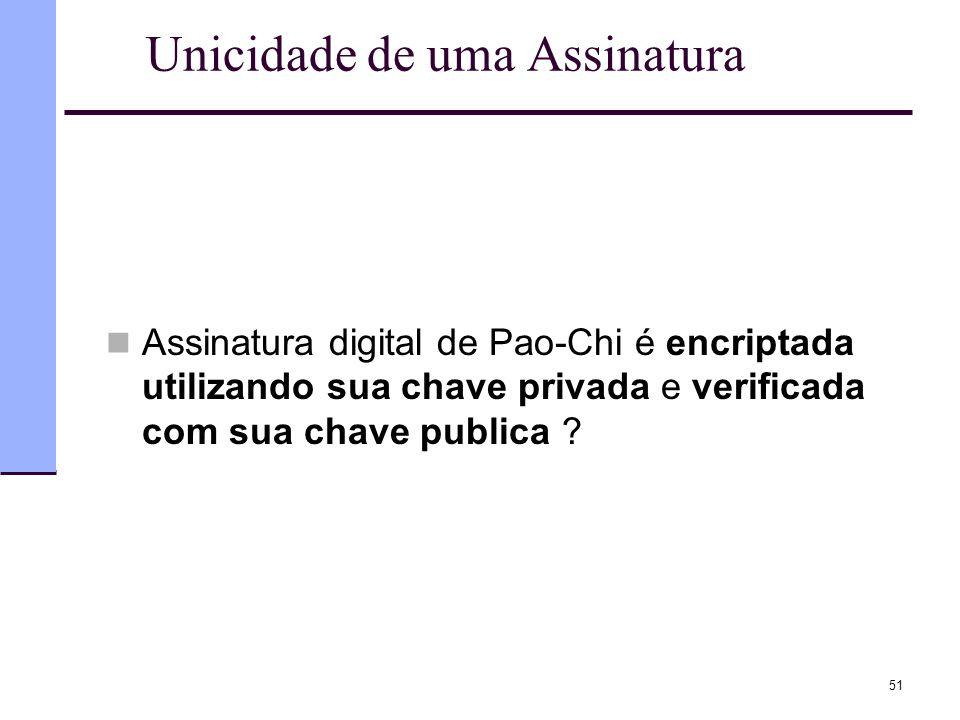 51 Unicidade de uma Assinatura  Assinatura digital de Pao-Chi é encriptada utilizando sua chave privada e verificada com sua chave publica ?