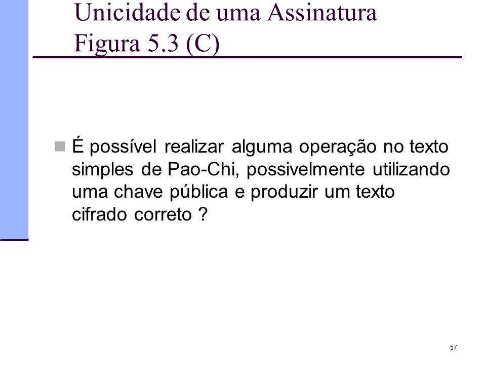 57 Unicidade de uma Assinatura Figura 5.3 (C)  É possível realizar alguma operação no texto simples de Pao-Chi, possivelmente utilizando uma chave pú
