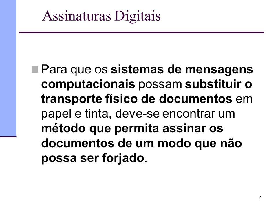 6 Assinaturas Digitais  Para que os sistemas de mensagens computacionais possam substituir o transporte físico de documentos em papel e tinta, deve-s