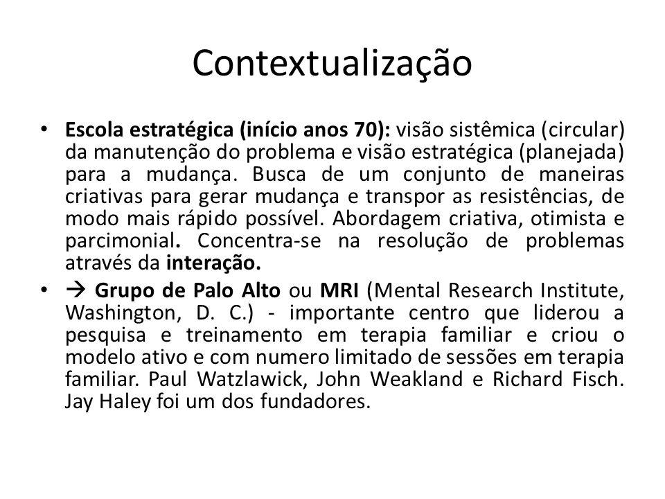 Contextualização • Escola estratégica (início anos 70): visão sistêmica (circular) da manutenção do problema e visão estratégica (planejada) para a mu