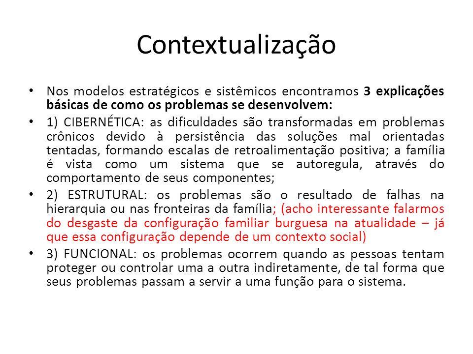 Contextualização • Nos modelos estratégicos e sistêmicos encontramos 3 explicações básicas de como os problemas se desenvolvem: • 1) CIBERNÉTICA: as d