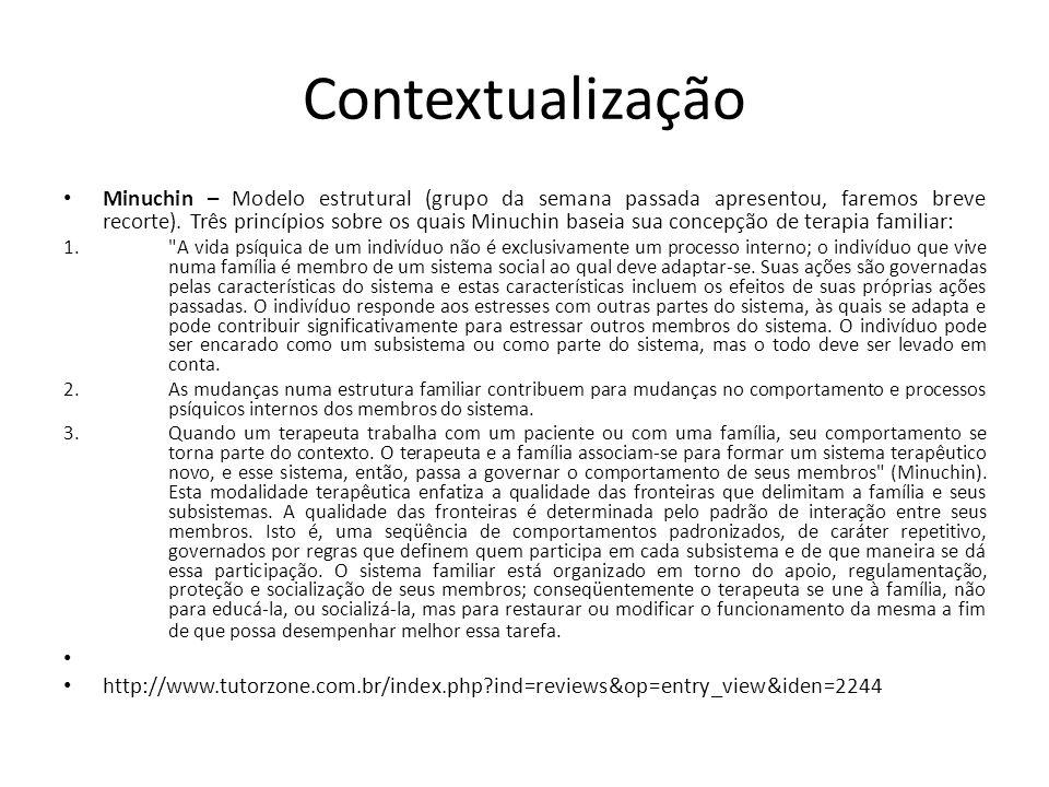 Contextualização • Minuchin – Modelo estrutural (grupo da semana passada apresentou, faremos breve recorte). Três princípios sobre os quais Minuchin b