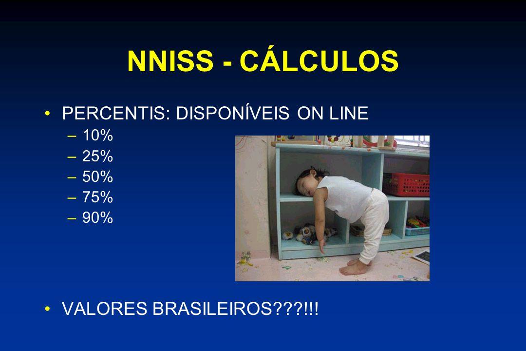 NNISS - CÁLCULOS •PERCENTIS: DISPONÍVEIS ON LINE –10% –25% –50% –75% –90% •VALORES BRASILEIROS???!!!