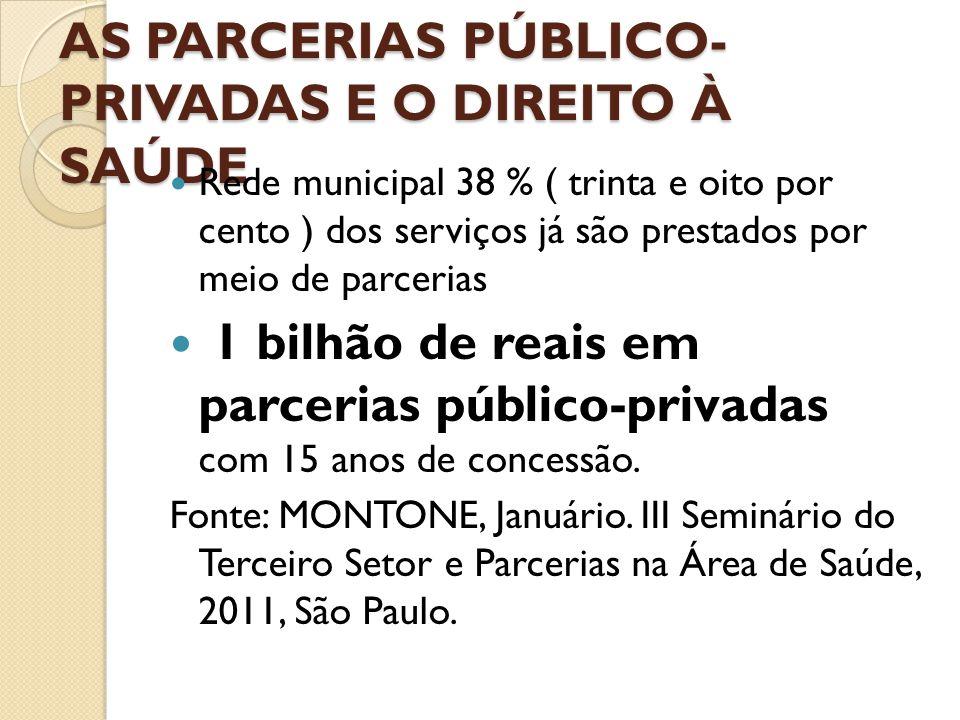 AS PARCERIAS PÚBLICO- PRIVADAS E O DIREITO À SAÚDE  Rede municipal 38 % ( trinta e oito por cento ) dos serviços já são prestados por meio de parceri